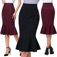 New Sexy Womens OL Office Ladies Mermaid Pencil Bodycon Knee Length Midi Skirt