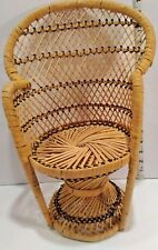 """Wicker 15 1/4"""" high-back Doll bear chair Plant stand seating is 7 x 7 vintage"""