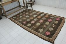 "Vintage Handmade Turkish Brown Kilim Rug 98""x60"""