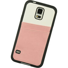 For Samsung Galaxy S5 - HARD GUMMY RUBBER PINK LEATHER CREDIT CARD HOLDER CASE