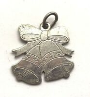Vintage Oxidized Sterling Silver 925 Christmas Musical Bell Bow Charm - Pendant