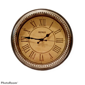 """Benrus 11"""" Decorative Hanging Analog Wall Clock Black Distressed Battery Tested"""