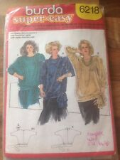 Vintage BURDA sewing pattern EASY 1980 s top size 46-48 (6218) complete