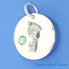 BABY FOOT PRINT W/ AUGUST BIRTHSTONE CZ 925 Sterling Silver Charm FOOTPRINT FEET