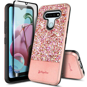 For LG K51 / LG Reflect Case Glitter Bling Phone Cover +Tempered Glass Protector