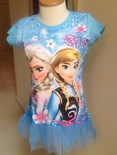 New Frozen Sisters Blue/Purple /Red Tutu T-shirt Tunics Hair Bow, FREE Bracelet