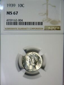 1939 NGC MS67 Mercury Dime Coin SUPER NICE BLAZING GEM BU ++ Silver .10   NR