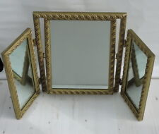 Vintage Gold gilt dressing table triple mirror aged