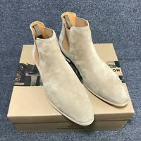Men's Fashion Vintage Pointy Toe Leather Dress Shoes British Suede Chelsea boots
