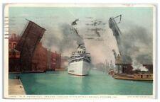 1925 SS Roosevelt Passing through State Street Bridge, Chicago, IL Postcard
