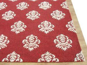 Damask Red White Modern Loop Handmade Hand-Tufted 100% Wool Area Rug Carpet