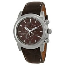NEW Citizen AT0550-11X Men's Brown Leather Band Chronograph Eco Drive Date Watch