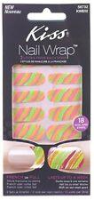 Kiss Fashion At Home Nail Wraps Neon Striped Glitter Nail Wrap 18 Strips #58732