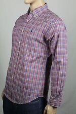 Ralph Lauren Medium M Pink Blue Classic Dress Shirt Navy Pony NWT