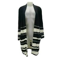 Style&co. Womens Duster Sweater Black White Stripe Long Sleeve Open Front M New