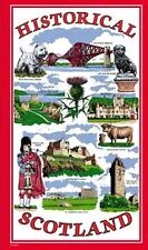 Historical Scotland Tea Towels Souvenir Gift Scottish Red Scenes Castle Cotton