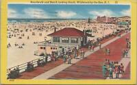 Postcard Boardwalk + Beach Looking South Wildwood by the Sea NJ