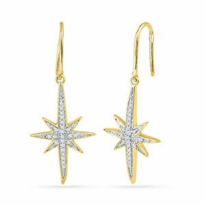 10k Yellow Gold Womens Round Diamond Starburst Dangle Earrings 1/6 Cttw