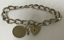 LOVELY ORNATE VINTAGE SILVER CHARM BRACELET HEART PADLOCK CLASP & SAFETY CHAIN