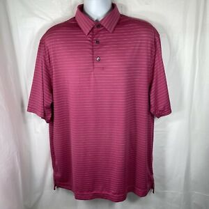 Footjoy Mens XL Bright Pink & White Striped Shirt Sleeve Classic Golf Polo Shirt
