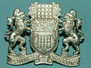 RARE WESTMINSTER DRAGOONS OFFICERS FROSTED SILVER CAP BADGE -100% ORIGINAL!!