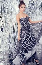 NEW LA FEMME Print Strapless Chiffon ZEBRA DRESS GOWN 4 $348 BLACK GREY WHITE
