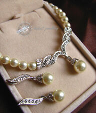 Simulated Diamond Wedding Pearl Set/Bridal/Necklace&Earring Set/RS009S