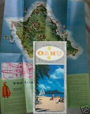 1950's OAHU HAWAII BROCHURE PICTORIAL MAP