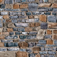 1/12 Dolls House Old Stone Brick Wall Embossed A3 Wallpaper Card DIY798B