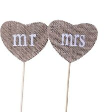 MR and MRS Cake Topper Natural Burlap Wedding Table Rustic Decoration