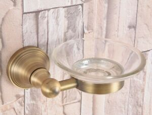 Glass Soap Dish and Holder Antique Brass Wall Mounted Modern Bathroom Accessory
