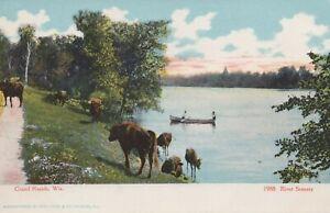 River Scene - Grand Rapids (Wisconsin Rapids), Wisconsin - unposted litho