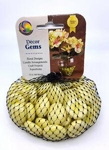 Mega Marble 3/4 Inch Round Opal Soft Yellow Mosaic Glass Gems 12oz Net Bag Vacor