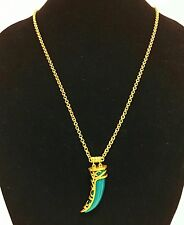 NEW TAHARI ANTIQUE GOLD TONE,GREEN SEMI PRECIOUS JADE HORN,CHAIN,CHARM NECKLACE