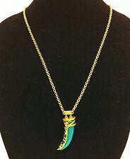 NEW TAHARI ANTIQUE GOLD TONE,GREEN SEMI PRECIOUS JADE HORN,CHAIN,CHARM NECKLACE