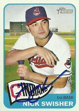 Nick Swisher Signed 2014 Topps Heritage Cleveland Indians Card - COA - Yankees