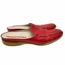 Prada Sport 40 US 10 Slip On Red Leather Mules Shoes Flats