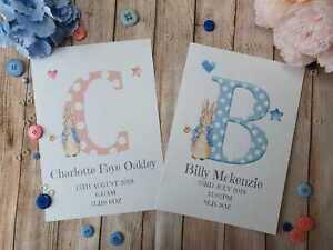 Personalised Peter Rabbit Nursery Print For New Baby Boy or Girl. Newborn Gift