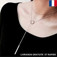 Collier Pendentif Cercle Longue Chaîne Femme Cadeau Bijoux Saint Valentin Love