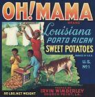 VINTAGE ORIGINAL 1940 S  OH  MAMA  SWEET POTATOES LABEL CHURCH POINT LOUISIANA