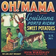 "RARE OLD ORIGINAL 1930'S EARLY BLACK ""OH! MAMA"" YAM LABEL CHURCH POINT LOUISIANA"