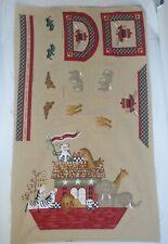 "Vintage Daisy Kingdom Country Noahs Ark Baby Cotton Fabric Panel #28449 35x60"""