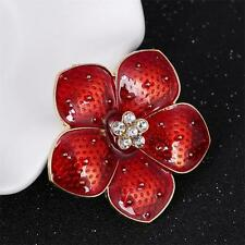 Diamante Enamel Red Flower Poppy Brooch Pin For Women Banquet Remembrance Gift