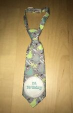 Luv Him Baby Boy 0-12 Infant Milestone Tie w/ #s Stickers Blue Green Dinosaur