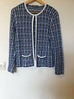 Laura Ashley Tartan Thin Knit Open Cardigan Top Size 8