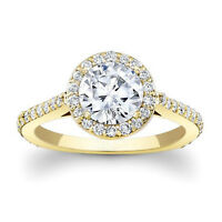 1.69 Ct Natural Round Diamond Band 14K Real Yellow Gold Wedding Ring