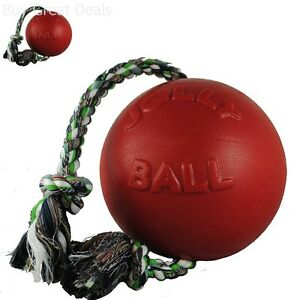 Romp Roll Dogs Toy 8 Inch Outdoor Romping Pet Dog Ball Easy Grip Rope Red