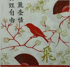 BIRD SEEN ASIA WHITE  2 single LUNCH SIZE  paper napkins for decoupage 3-ply