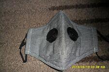 graue Mundnasenmaske aus Baumwolle mit Luftventilen u Innenfach für Filter neu