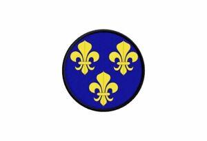 Patch ecusson drapeau fleur de lys bleu france imprime thermocollant rond